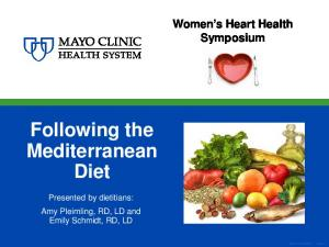 Following the Mediterranean Diet