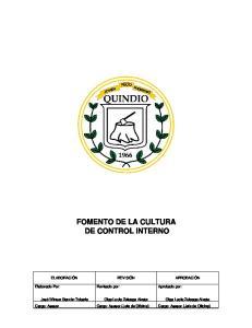 FOMENTO DE LA CULTURA DE CONTROL INTERNO