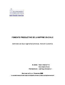 FOMENTO PRODUCTIVO DE LA MIPYME EN CHILE