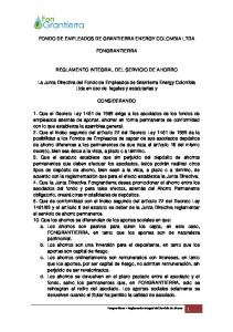 FONDO DE EMPLEADOS DE GRANTIERRA ENERGY COLOMBIA LTDA FONGRANTIERRA REGLAMENTO INTEGRAL DEL SERVICIO DE AHORRO