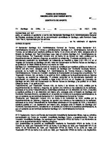 FONDO DE INVERSION INMOBILIARIA SANTANDER MIXTO CONTRATO DE APORTE