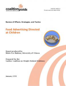 Food Advertising Directed at Children