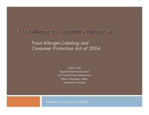 Food Allergens - Regulatory Perspective