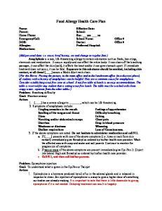 Food Allergy Health Care Plan