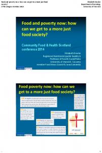Food and poverty now: how can we get to a more just food society?