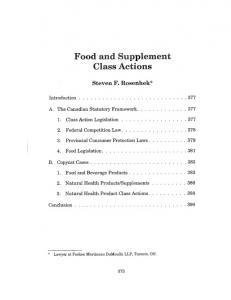 Food and Supplement Class Actions