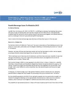 Food & Beverage Cases To Watch In 2015