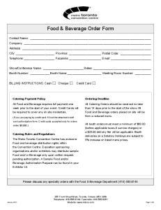 Food & Beverage Order Form