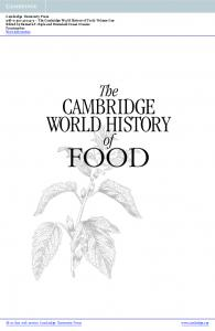 FOOD CAMBRIDGE WORLD HISTORY. The