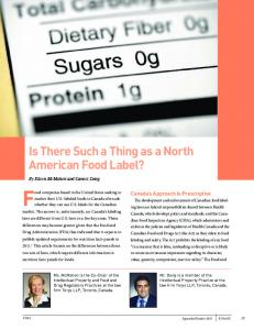 Food companies based in the United States seeking to. Is There Such a Thing as a North American Food Label? Canada s Approach Is Prescriptive