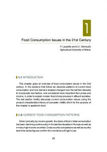 Food Consumption Issues in the 21st Century