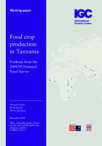 Food crop production in Tanzania