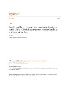 Food Handling, Hygiene, and Sanitation Practices in the Child-Care Environment in North Carolina and South Carolina