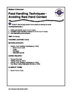 Food Handling Techniques - Avoiding Bare Hand Contact