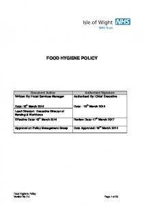 FOOD HYGIENE POLICY. Written By: Hotel Services Manager. Authorised By: Chief Executive