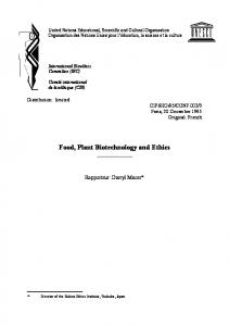 Food, Plant Biotechnology and Ethics
