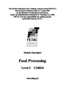 Food Processing. Module Descriptor