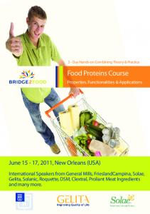 Food Proteins Course. June 15-17, 2011, New Orleans (USA)