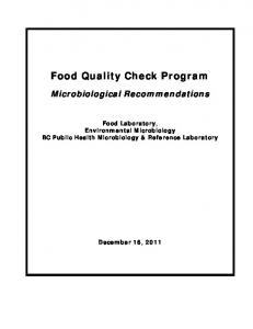 Food Quality Check Program
