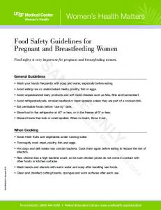 Food Safety Guidelines for Pregnant and Breastfeeding Women SAMPLE ONLY. Food safety is very important for pregnant and breastfeeding women