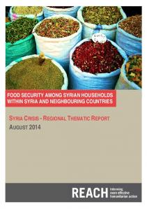 FOOD SECURITY AMONG SYRIAN HOUSEHOLDS WITHIN SYRIA AND NEIGHBOURING COUNTRIES
