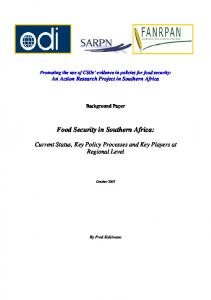 Food Security in Southern Africa: