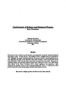 Food Security of Refugee and Displaced Women: Best Practices
