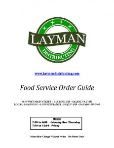 Food Service Order Guide
