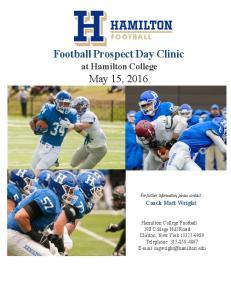Football Prospect Day Clinic at Hamilton College