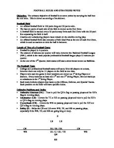 FOOTBALL RULES AND STRATEGIES NOTES