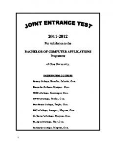 For Admission to the. BACHELOR OF COMPUTER APPLICATIONS Programme. of Goa University. PARTICIPATING COLLEGES