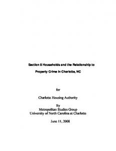for Charlotte Housing Authority By Metropolitan Studies Group University of North Carolina at Charlotte