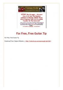For Free, Free Guitar Tip