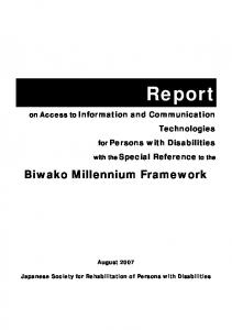 for Persons with Disabilities with the Special Reference to the Biwako Millennium Framework August 2007