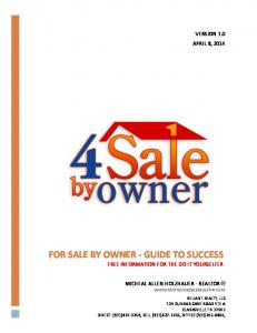 FOR SALE BY OWNER - GUIDE TO SUCCESS FREE INFORMATION FOR THE DO IT YOURSELFER