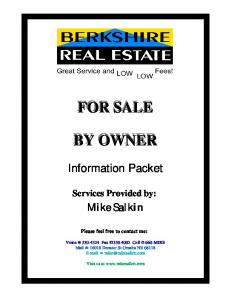 FOR SALE FOR SALE BY OWNER BY OWNER