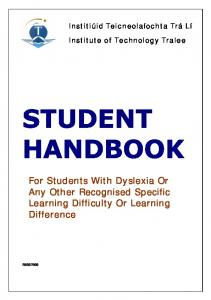 For Students With Dyslexia Or Any Other Recognised Specific Learning Difficulty Or Learning Difference
