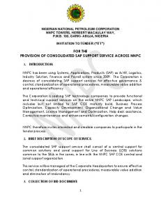 FOR THE PROVISION OF CONSOLIDATED SAP SUPPORT SERVICE ACROSS NNPC