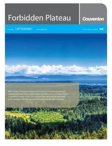 Forbidden Plateau. TOLL-FREE: couverdon.com PHO TOS, UPDA TES & MORE