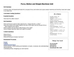 Force, Motion and Simple Machines Unit