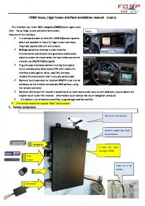 FORD Focus, Edge Fusion interface installation manual V100710