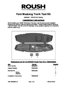 Ford Mustang Trunk Tool Kit