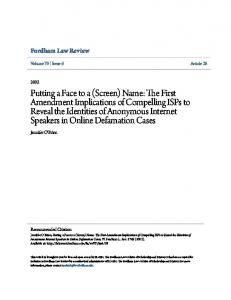 Fordham Law Review. Jennifer O'Brien. Volume 70 Issue 6 Article 28. Recommended Citation