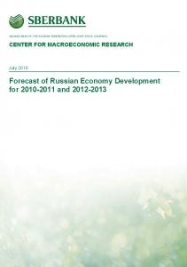 Forecast of Russian Economy Development for and