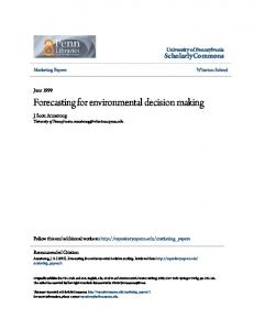 Forecasting for environmental decision making