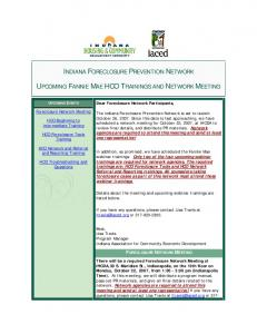 FORECLOSURE NETWORK MEETING