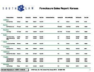 Foreclosure Sales Report: Kansas