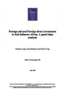 Foreign aid and Foreign direct investment in Sub-Saharan Africa: A panel data analysis