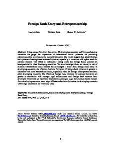Foreign Bank Entry and Entrepreneurship