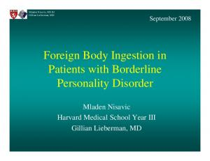 Foreign Body Ingestion in Patients with Borderline Personality Disorder